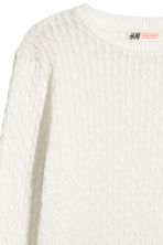 Cable-knit cotton jumper - White - Kids | H&M 3